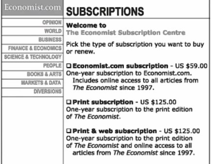 Dan Ariely pricing experiment, part 1
